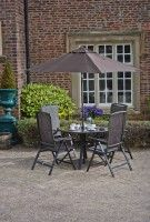 Granada Aluminium Table and 4 Recliner Chair Garden Set, download this press image at www.prshots.com #outdoors #garden #interior #picnic #home #leisure #family #summer