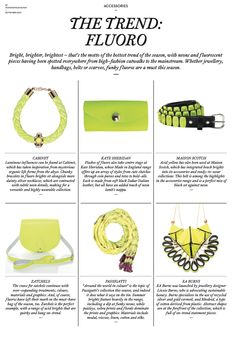 E.A.Burns Iris Necklace is The Trend this season in Womenswear Buyer Magazine | Bright, brighter, brightest – that's the motto of the hottest trend of the season, with neons and f luorescent pieces having been spotted everywhere from high-fashion catwalks to the mainstream. Whether jewellery, handbags, belts or scarves, funky fluoros are a must this season.  www.eaburns.com