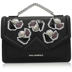 Karl Lagerfeld K/Klassik Diamonds Shoulder Bag ($440) ❤ liked on Polyvore featuring bags, handbags, shoulder bags, black, shoulder bag handbag, chain handle handbags, embellished purse, diamond purse and chain strap shoulder bag