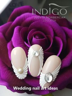 35 Simple Ideas for Wedding Nails Design Manicure Nail Designs, 3d Nail Designs, Simple Nail Designs, Nail Manicure, Acrylic Nail Art, 3d Nail Art, 3d Nails, Cute Nails, Trendy Nail Art
