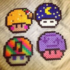 Mushrooms perler beads by lizbugkandi
