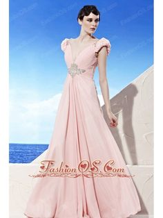 Baby Pink Empire V-neck Floor-length Chiffon Beading Prom Dress  http://www.fashionos.com   free shipping | dress on sale | inexpensive dress online | dress for wholesale | prom dresses with beading | prom dress with dropped waist | empire prom dresses for 2013 | sexy junior prom party dresss | elegant prom homecoming dress |  This pink prom dress flows freely to the floor.The back of the bodice is made from gorgeous net fabric and a zipper up back completes this dainty design.