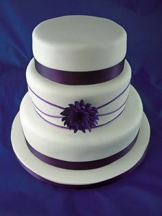 Simple wedding cakes purple and white
