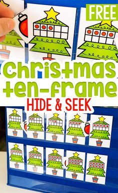 This free printable Christmas ten-frame hide and seek game is a great way to work on counting to 10 with your preschoolers and kindergarteners in small groups Christmas Math, Christmas Activities For Kids, Preschool Christmas, Free Christmas Printables, Christmas Books, Christmas Tree, Christmas Ideas, Winter Activities, Christmas Projects