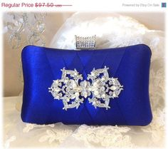 wedding clutch, formal clutch, Royal blue clutch, evening bag, bridesmaid clutch, bridesmaid bag, crystal clutch on Etsy, $68.25