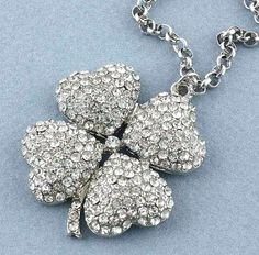 4 Leaf lucky Rhinestone Clover Pendant with Adjustable Chain $12.95