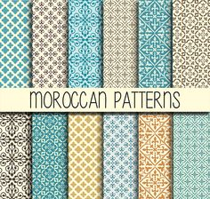 Moroccan tiles - Arabic patterns - Instant Download - Set of 12 Paper - 12x12 inch - Digital Paper Pack - Scrapbook, Web design, Card making by babushkadesign on Etsy https://www.etsy.com/listing/205975820/moroccan-tiles-arabic-patterns-instant