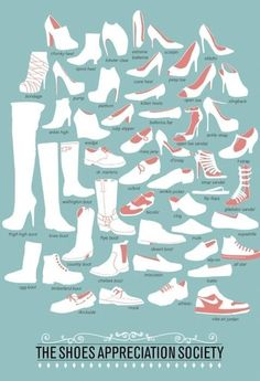 names of the different kinds of shoes Pretty practical if you ask me ;) !