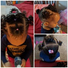 Kids hairstyle. Braids are on the side. Takes about 15 min. Black Baby Girl Hairstyles, Mixed Baby Hairstyles, Cute Toddler Hairstyles, Feed In Braids Hairstyles, Kids Curly Hairstyles, Braided Hairstyles, Kids Hairstyle, Teenage Hairstyles, Dope Hairstyles