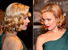 "Want to get Rachel's pin up girl curls? Rachel McAdams' hair looked flawless at the Berlin premiere of Sherlock Holmes on Jan. Sebastian Professional celebrity hair stylist Thomas Dunkin was going for inspired waves"" which Rachel pulled off perfectly. Retro Hairstyles, Wedding Hairstyles, Wedding Hair And Makeup, Hair Makeup, 50s Makeup, Rachel Mcadams Hair, Vintage Curls, Vintage Short Hair, Retro Curls"
