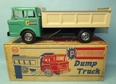 VINTAGE MARX POWERHOUSE DUMP TRUCK # 2528 PRESSED STEEL TOY & BOX | Toys of Times Past