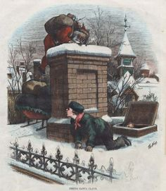 """Note that Santa is about the same size as the child. """"Seeing Santa Claus."""" Thomas Nast, 1876."""