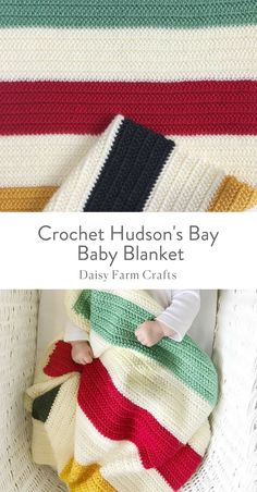 Free Pattern - Crochet Hudson's Bay Baby Blanket