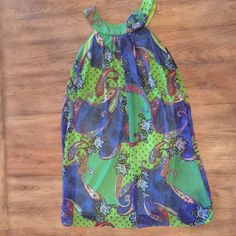 Sale- Green and blue paisley print dress Green and blue paisley print dress Blush Dresses