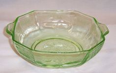 Hocking Green PRINCESS Depression Glass 5 1/4 Inch Tab Handled CEREAL Bowl