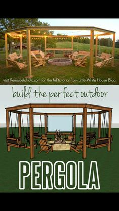 Build the perfect pergola! Learn to DIY this beautiful circular pergola with a c. Build the perfect pergola! Learn to DIY this beautiful circular pergola with a central firepit, swings, and Adirondack chairs - Little White House Blo. Diy Pergola, Outdoor Pergola, Backyard Patio, Backyard Landscaping, Backyard Shade, Landscaping Ideas, Backyard Hammock, Outdoor Swings, Hammock Ideas