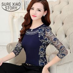 e3668d502 2015 Autumn Slim Patchwork ladies Plus size lace blouse shirt Women long  sleeve Lace Tops Women clothing 901G 40-in Blouses & Shirts from Women's  Clothing ...