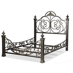 Give a smart look to your home with Leggett and Platt Baroque Gilden Slate Queen Bed with Massive Cast Metal Grills and Decorated Sloping Side Rails. Wrought Iron Bed Frames, Leggett And Platt, Steel Bed Frame, Iron Furniture, Bedroom Furniture, Metal Beds, Metal Daybed, Panel Bed, Headboards For Beds