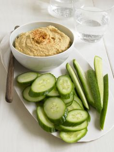 New twist on hummus -- with sweet potatoes! Delish with cucumbers or carrots. #FastMetabolismDiet