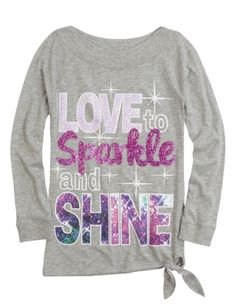 Long Sleeve Side Tie Tunic   Girls Tops Clothes   Shop Justice