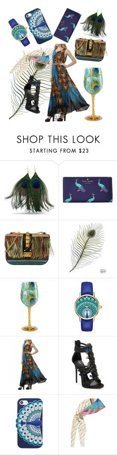 """Peacock style"" by dessyaramadhanti ❤ liked on Polyvore featuring Kate Spade, Valentino, Giuseppe Zanotti, Gucci, peacock and peacockstyle"
