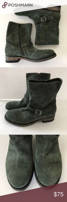 Yin & Fitz Suede Boot 39 Made In Italy Vero Cuoio Womens Suede Boot 39 Green Buckle Zippered Made In Italy Round Toe • Item: Women's Suede Boot Zipper Closure - Buckle Detail • Fabric: Suede • Brand: Yin & Fitz Vero Cuoio • Condition: Excellent Pre Owned • Size: 39 (8.5 / 9) • Approximate Measurements: ◦ Shaft Height: 8 inches ◦ Circumfrence 12 inches • Color: Green Yin & Fitz Shoes Combat & Moto Boots