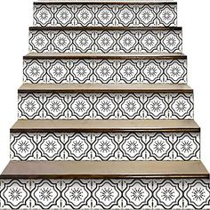 """YIZUNNU Stair Step Decals Stickers Stair Riser Decals Peel and Stick Tile Backsplash Step Contact Paper DIY Tile Decals Staircase Decal Stair Mural Decals 7"""" W x 39"""" L (Set of 6), Vinyl, Black and White Style, 7""""x39""""x6P: Amazon.com.au: Kitchen Stair Stickers, Wall Stickers Murals, Wall Decal Sticker, Staircase Decals, Staircase Remodel, Tiled Staircase, Stairs, Stair Steps, Stair Risers"""