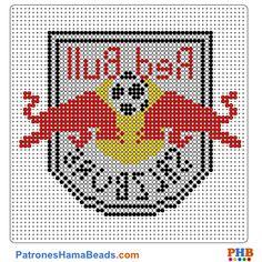 Red Bull Salzburgo plantilla hama bead. Descarga una amplia gama de patrones en formato PDF en www.patroneshamabeads.com