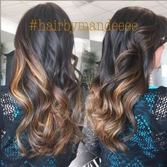 From brunette to Carmel delight ✨ #hairbymandeeee #handpainted #balayage #caramelhair #cilantrohairspa #ombre #redkencolor #modernsalon #hairbrained