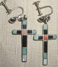 Vintage 1940-50's Zuni Sterling & Inlay Cross Earrings