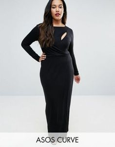 3b47bcd727 ASOS CURVE Long Sleeve Maxi Dress with Slash Detail Open Back Maxi Dress