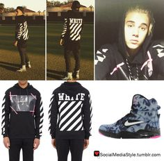 Buy Justin Bieber's Off White C/O Virgil Abloh Caravaggio Hoodie and Nike Air Command Force Sneakers, here!