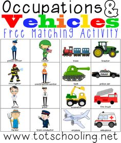 Occupations & Vehicles: Free Matching Activity