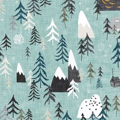 Forest Mountain Peaks in Sky Blue Quilting Fabric. Fabric by the Yard Cotton Knit Jersey Minky Woodland Camp Boy Baby Gender Neutral Nursery