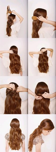 half-up-half-down style:  1. start with loose waves in your hair  2. backcomb or tease the hair at the crown of your head  3. smooth out the top layer  4. twist one side of your hair and pin it about 2/3 of the way across your head  5. now twist the other side and tuck in under the first part  6. again pin that piece about 2/3 of the way across your head.