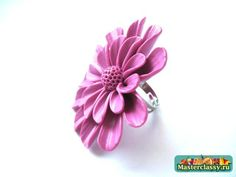 A ring made of polymer clay. Miracle flower. Master class with step by step photos