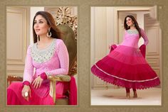Exclusive Pink and Magenta Pure Georgette Anarkali Kareena Kapoor Salwar Kameez embellished with Embroidered Work, Resham Work and Patch Border Work.   Salwar Kameez comes with matching bottom and fabulous dupatta. This Unstitched Suit Fabric has maximum bust size of 42 inches.