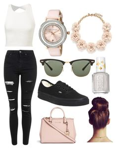 """""""Cool summer day"""" by mgrove1121 ❤ liked on Polyvore featuring Topshop, Ted Baker, J.Crew, Essie, Vans, Ray-Ban and Michael Kors"""
