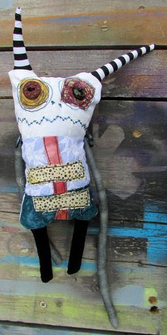 Handmade Gremlin art doll - by monstermaud