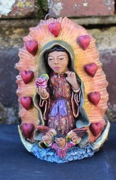 Nuestra Señora de Guadalupe, Virgin of Guadalupe Small size with HEARTS Aguilar