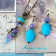 Parure Bijoux Femme, Bijoux Fête des Mères, Boucles d'Oreille Jade, Sautoir Perle Verre Chalumeau : Parure par bleuluciole http://amzn.to/2suCJK5