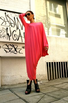 Candy Pink Asymmetrical Tunic Dress / Kaftan / Off by Aakasha, $79.00