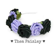Pastel Goth Rose Flower crown  Baby blue Pastel Flower Halo 21df26028c2