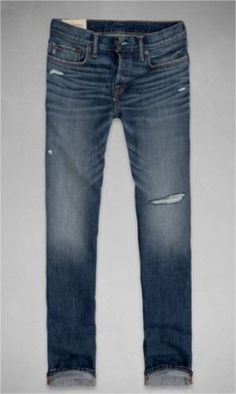 Jeans Abercrombie Men's A&F Classic Straight Jeans Destroyed Dark Wash #Jeans #Abercrombie