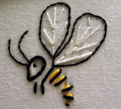 She has inspired a bee. Bee Embroidery, Simple Embroidery, Hand Embroidery Designs, Cross Stitch Embroidery, Embroidery Patterns, Bee Design, Sewing Crafts, Needlework, Stitching