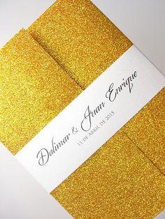 Wedding Invitation, Wedding Invite, Unique Invitation, Gold Glitter Invite, Bright Gold Invitation, Glitter Invitation, SARAHIE - 22