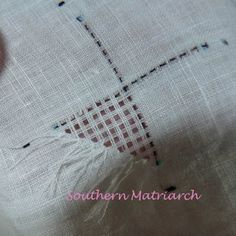 Southern Matriarch: Pulled thread on linen, tutorial
