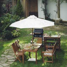 Instagram media by shop_brickart - 家族や親しい友人達と囲む楽しいひと時。 #ガーデンパラソル#ガーデンファニチャー#バーベキューグリル#ガーデンシンク#ガーデン#庭#憩いの場#家族の時間#楽しいひと時 #bbp#parasol#funiture#garden