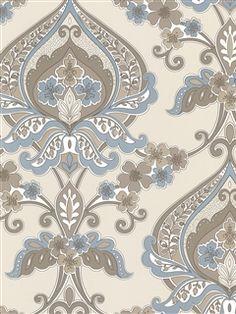 Zinc Wallpaper |Powder blue and brown scrolling vines damask | AmericanBlinds.com