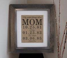 ON SALE Personalized Mother's Day Gift | Gift for Mom | Grandmother Gift | Important Date Sign | Family Date Sign | Mother's Day Wall Art